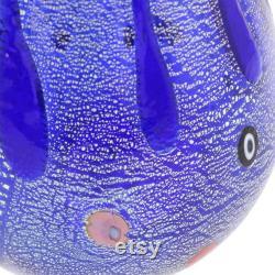 GlassOfVenice Murano Glass Carafe Silver Lava Blue