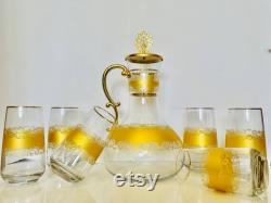 Gold Pattern Carafe Set, Glass Carafe and Cup, Glass Pitcher, Glass Decanter, Handmade Decanter Set, Water Pitcher, Juice Carafe