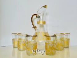 Golden Leaf Pattern Carafe Set, Juice Carafe, Glass Carafe and Cup, Bedside Carafe, Glass Pitcher, Wine Lovers Gift, Glass Decanter
