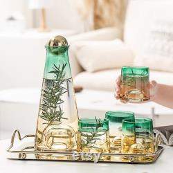 Green and Yellow Carafe Set with Tray