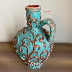 Hand painted Antique Greek pottery decanter (with two copper wine glasses- sold separately)