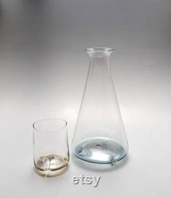 Handblown Bedside Carafe, Large, Clear with Gold and Blue
