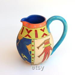 Handmade Ceramic Pitcher, Jag for Water,Hand Painted Pitcher, READY TO SHIP
