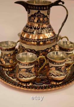 Handmade Copper Jug Set With Engraving , Copper Jug Set , Copper pitcher , Copper Carafe , Soft drink set