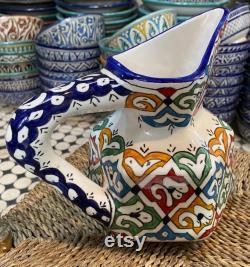 Handmade Moroccan ceramic carafe, Moroccan ceramics pitcher handmade ceramics pitcher