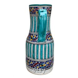 Handmade and hand-painted Moroccan pottery pitcher, Fes ceramic pitcher, handmade ceramic pitcher