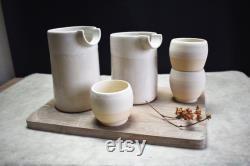 Handmade stoneware ceramic carafe set with matte white glaze pottery, cups, pourer, jug, wine, water, dinnerware, tableware, modern design