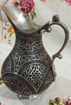 Heavy Handcrafted Big Handmade Anatolian Copper Carafe, water carafe , water pot, kitchen decor, home decor