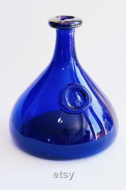 Holmegaard Carafe, Holmegaard Viking Carafe designed by Ole Winther, Fat cobolt blue glass decanter, Holmegaard wine carafe, Wine pourer