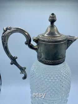 Italian Cut Glass Wine Claret Carafe with Silver plated Spout and Handle