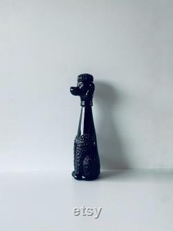 Large poodle shaped decanter in black glass