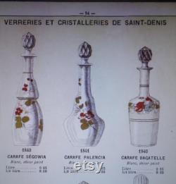 Legras Carafe émaillé églantines-Cristallerie Saint-Denis