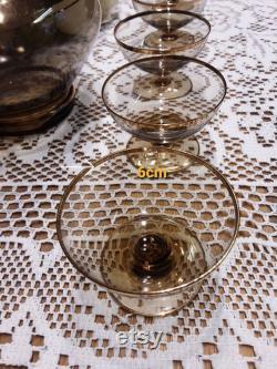 Liqueur service, liqueur carafe, vintage glass, smoked glass