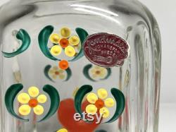 Lovely Vintage Johansfors Glassworks Sweden Carafe with 3 Glasses, Old Swedish Johansfors Burning Hearts Glass Decanter and Three Glasses