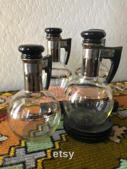 MCM 4 set vintage silver lined carafe with cork top and trays