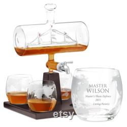 MURRANO Decanter Set with Whiskey Glasses Personalised Whiskey Glasses 1000 ml Whiskey decanter, 300 ml Whiskey glasses Master