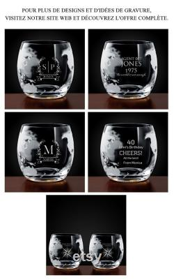 MURRANO Decanter Set with Whiskey Glasses Personalised Whiskey Glasses 1000 ml Whiskey decanter, 300 ml Whiskey glasses Flowers