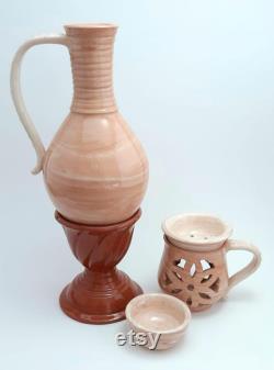 Marble Carafe-Censer Set,Handmade Ceramic by Meric Ceramics, Ceramic Gifts, Underglazed Ceramic, Terracotta Set