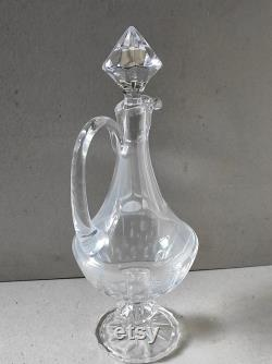 Old carafe with french crystal ewer wine from Lorraine blown and cut by hand new in box