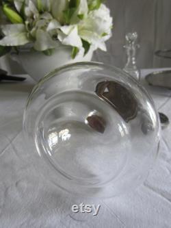 Old juice or water carafe, embellishments, France, glass, metal, vintage