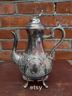 Old silver plated water mug, English antiques, Home decor, Handmade water jug, Old country decor.