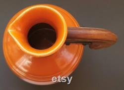 Pacific Pottery Carafe Jug 438 Rust Orange 8 1 2 Made in USA Wood Handle