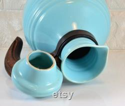 Pacific Pottery Carafe Pitcher with Lid 438 Aqua Turquoise Color Hostessware Colorware Vintage 1930s Walnut Wood Handle California