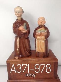Pair Western Germany Friors Monks -carrying Turkey and Wine Carafes.