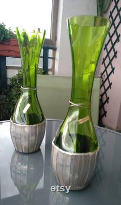 Pair of vintage puffed glass bottles with hand-worked silver basket base