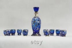 RARE Antique APA MILANO Argento 925 Set 1920-1930 Cobalt Blue Venetian Art Glass Silver Sterling 925 Floral Carafe Italian Glass Antique