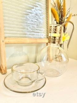 RARE Vintage Pyrex Glass Carafe Decanter with 8 Cups 8 Saucers and Service Rack Vintage Pyrex Coffee Tea Set