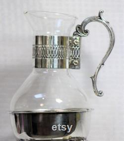 RARE Vintage Silver and Glass Coffee Carafe, Silver Plated Warming Stand and Candle Holder, F B Rogers Silver Company, Taunton, Massachusetts