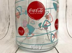 Rare Coca-Cola Coke Licensed Glass Carafe and Lid Bilingual Made in Canada MCM Atomic Amoeba Design Pink Blue Vintage Pitcher Decanter Unusual