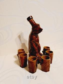 Rare Vintage Soviet Faience Bear Carafe With 6 Shot Glasses Made in USSR in 1970s.
