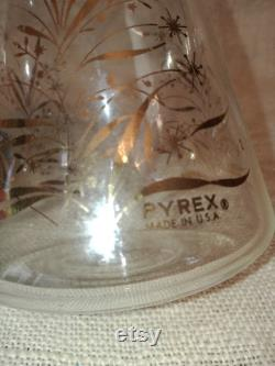 Retro Pyrex Glass Coffee Carafe with Lid Vintage Pyrex Black and Gold