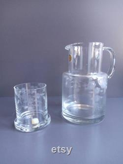 Romania vintage cut glass water jug and single glass stopper.