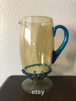 Sale RARE Carder Steuben Pitcher 5067 amber and Celeste blue applied prunts and rigaree Rare factory option handle color