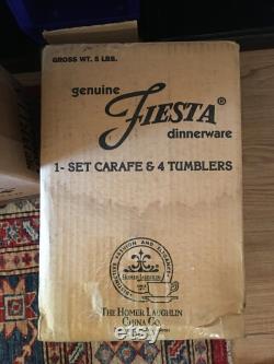 Sapphire Blue Fiestaware Carafe and 4 Tumblers in Original Box