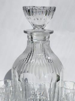 Set New Unused Vintage Czech Crystal Set Carafe 6 shots Glass Plate Whiskey Brandy Decanter 750 Vintage Glass Handmade Glass Cutting Crystal