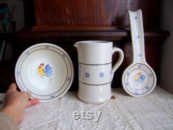 Set of 3 vintage Italian Apulia glazed terracotta maiolica crocks pitcher, bowl and ladle-holder. Home, kitchen traditional rustic decor