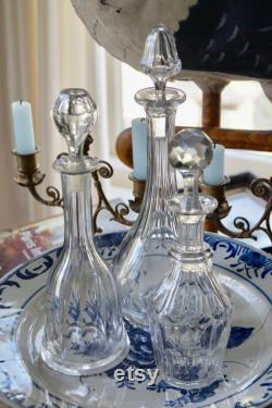 Set of Three Antique Mix and Match French Crystal Glass carafes