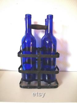 Set of carafes old glass cobalt blue with bottle door painted metal and wood vintage French