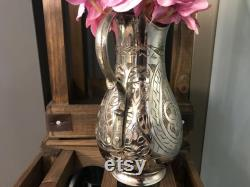 Shining Copper Vase, Hand Carved Turkish Carafe,Decorative Old Jug, Copper Water Pitcher, Housewarming Gift for Home,Vintage Inlaid Decanter