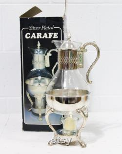 Silver Plated Vintage Carafe with Warmer, Glass Carafe Tea Pot, Coffee Carafe, Silverplate Carafe, 80s Retro Kitchen Decor,
