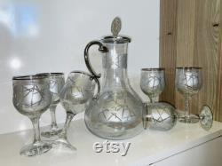 Silver Wine Decanter, Handmade Decanter Set, Cocktail Glasses, Barware Set, Carafe and Glass Set, Cocktail Glasses, Engraved Wine Glass
