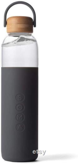 Soma BPA-Free Glass Water Bottle with Silicone Sleeve, Gray, 25oz