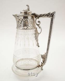 Stunning Victorian Silver Plated Glass Claret Jug Circa 1880