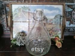 Traditional French carafe,Vintage glass pot. The lux container for fruit juice, wine or water. Vintage farmhouse.
