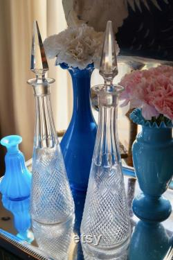 Two antique French Crystal Glass Carafes bottles