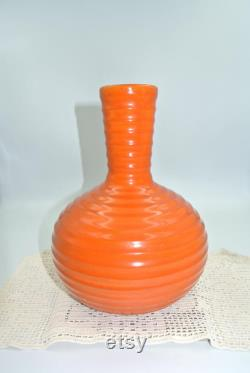 VERY RARE Bauer Vintage Bauer Orange Ringed Los Angeles Pottery Water Wine Carafe Decanter Vase This is Not a Reproduction